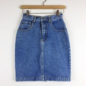 Vintage high waisted denim mini pencil skirt